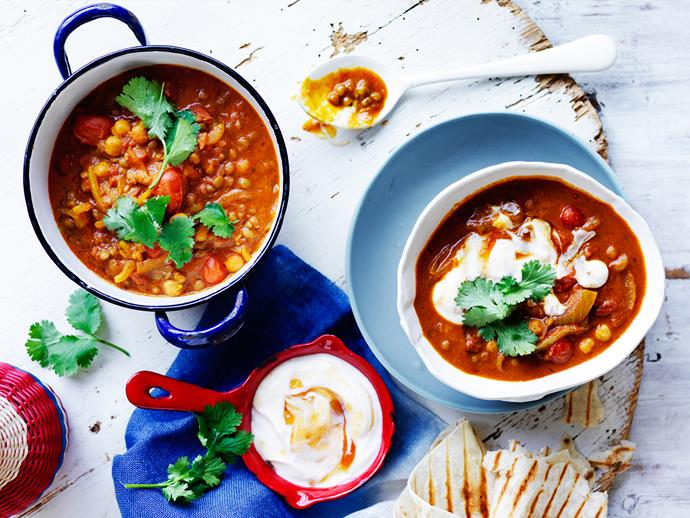 "**[Chana dhal with chutney yoghurt](https://www.womensweeklyfood.com.au/recipes/chana-dhal-with-chutney-yoghurt-2715|target=""_blank"")**  This flavoursome lentil and chickpea curry from The Australian Women's Weekly's ['Fast Favourite Dinners' cookbook](https://www.magshop.com.au/the-australian-womens-weekly-fast-favourite-dinners