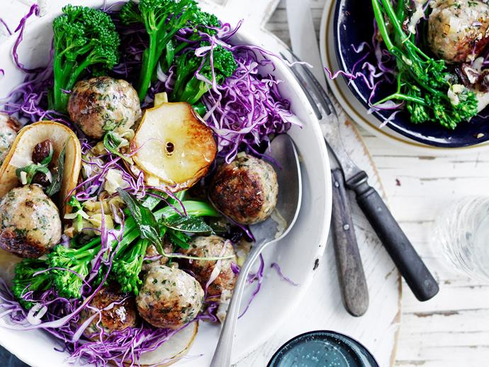 "**[Chicken and sage meatballs with cabbage and pear](https://www.womensweeklyfood.com.au/recipes/chicken-and-sage-meatballs-with-cabbage-and-pear-2717|target=""_blank"")**  Healthy dinners don't have to be dull! These lean chicken meatballs from The Australian Women's Weekly's ['Fast Favourite Dinners' cookbook](https://www.magshop.com.au/the-australian-womens-weekly-fast-favourite-dinners