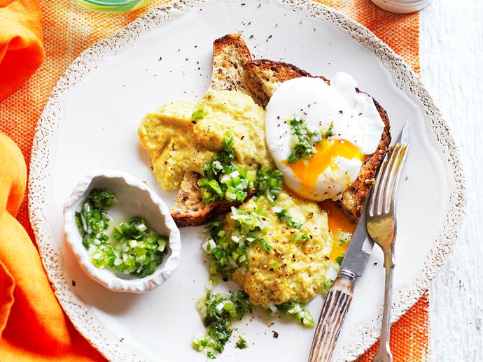 """**[Creamed corn and green chilli relish on toast](https://www.womensweeklyfood.com.au/recipes/creamed-corn-and-green-chilli-relish-on-toast-2718