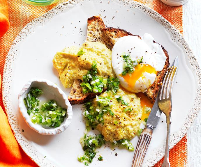 creamy corn and poached egg on toast