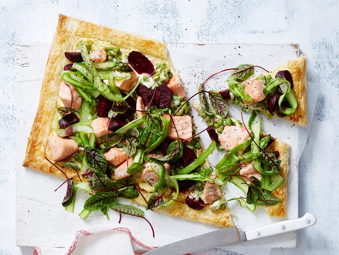 salmon tart with puff pastry
