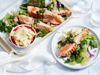 grilled salmon skewers recipe