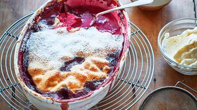 Gluten-free berry and apple pie with clotted cream