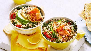 Hot-smoked salmon and haloumi quinoa breakfast bowls
