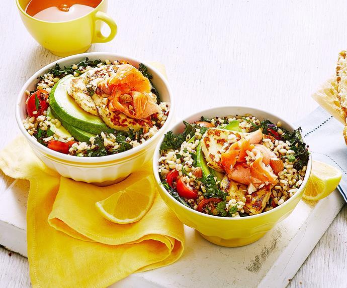 Hot-smoked salmon and haloumi breakfast bowls