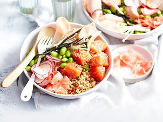 Salmon poke bowl with hot and sour dressing