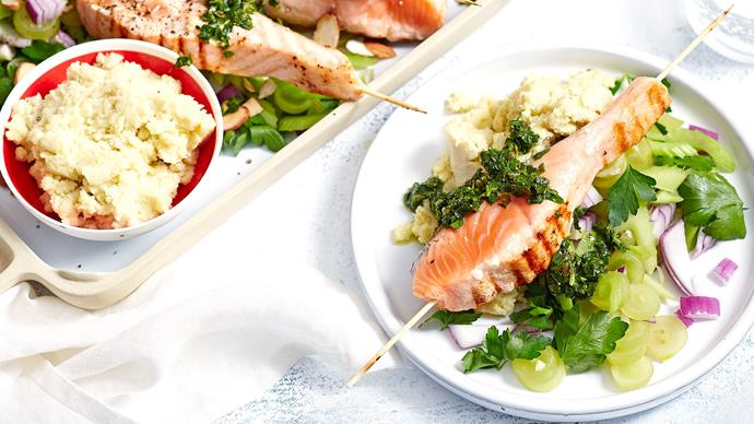 Salmon skewers with salsa verde and skordalia