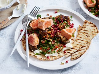 Seared salmon with almond salad and homemade labne