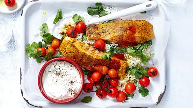 Garam masala baked salmon with tomatoes and raita