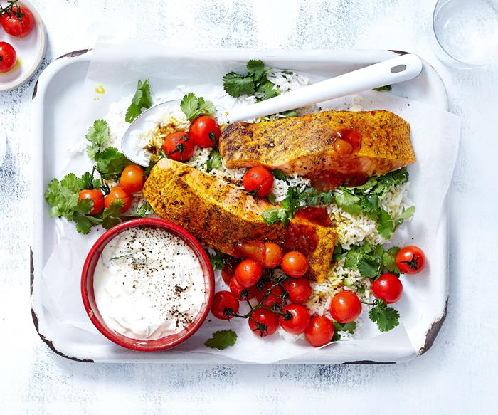 Garam masala grilled salmon with raita and tomatoes