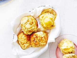 Rich pistachio scones with lemon curd mascarpone