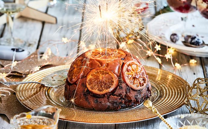 Christmas pudding with oranges