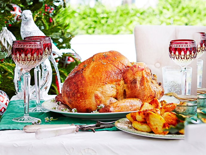 Maple-crusted turkey with corn and bacon stuffing