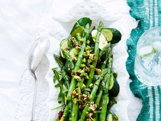 Courgette and asparagus salad with lemon pistachio dressing