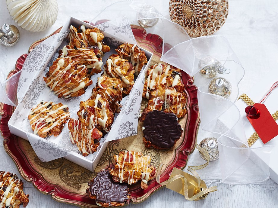 "**[Easy Christmas florentines](https://www.womensweeklyfood.com.au/recipes/easy-christmas-florentines-2778|target=""_blank"")** Celebrate the holiday season with these delightfully festive florentines. Packed with dried fruits, nuts and a drizzle of chocolate, they're sure to satisfy your sweet tooth."