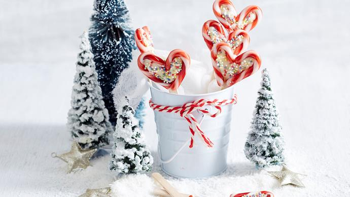 candy cane hearts with white chocolate
