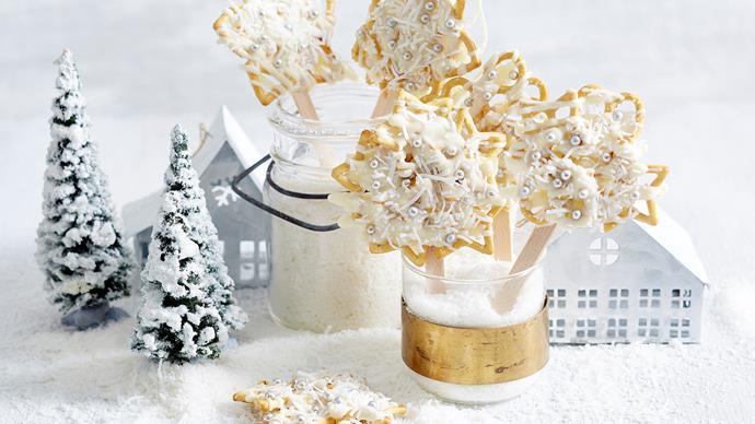 snowflake pretzel pops