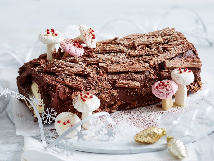 decorating a chocolate yule log