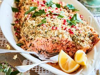 Crumbed Christmas salmon