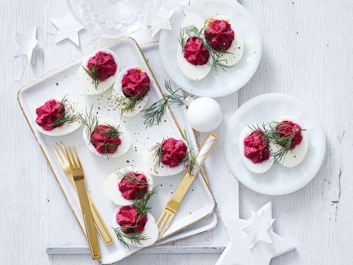 deviled eggs with beet filling