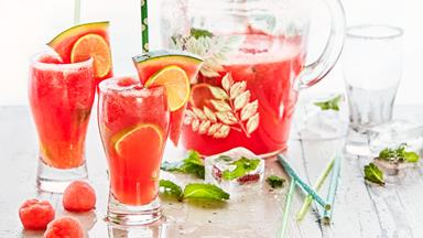 Watermelon, mint and lime cooler punch with ginger ale