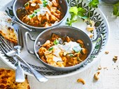 Vegetarian roasted eggplant curry with coconut milk