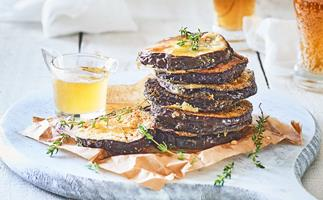 Fried eggplant with thyme honey
