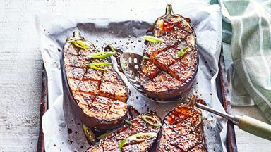 Japanese-style teriyaki baked eggplant with sesame seeds