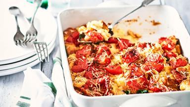 Overnight roasted tomato, cheese and herb strata