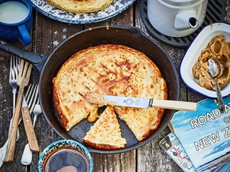 Camp crumpets with cinnamon butter