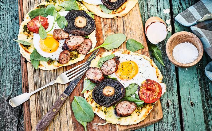 Bushman's bread breakfast pizza with eggs and sausages
