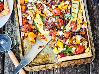 Barbecued summer vegetable tart with chutney and feta