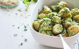 New potato salad with easy mint pesto dressing