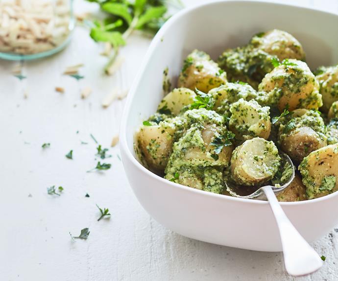 New potato salad with easy mint pesto dressing