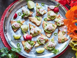 Zingy ceviche and guacamole on crispy toastadas