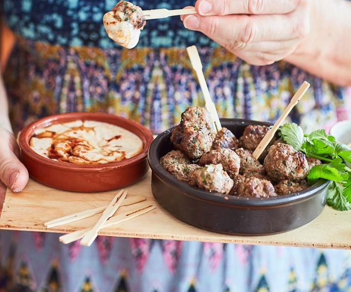 Lamb and coriander feta-stuffed meatballs with yoghurt sauce