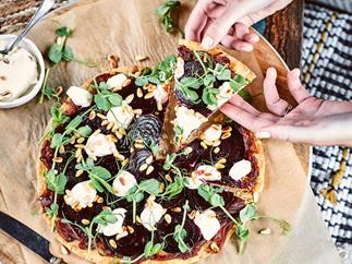 Vegan roast beetroot, caramelised onion and cashew cream tart