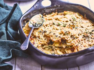 Cheesy potato, kale and bacon gratin with thyme