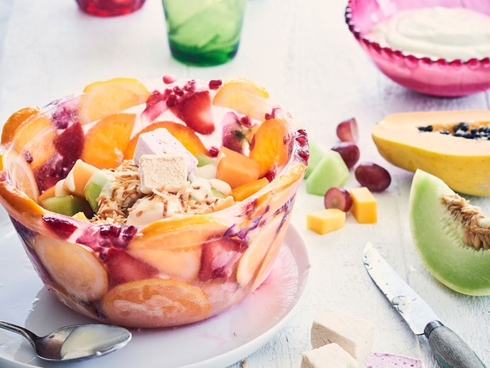 Make-your-own fruity ice bowl with tropical fruit ambrosia
