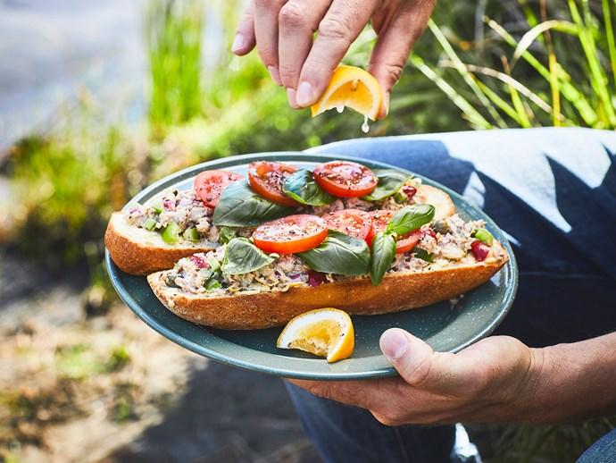 Mediterranean tuna open sandwiches with mayo and mustard