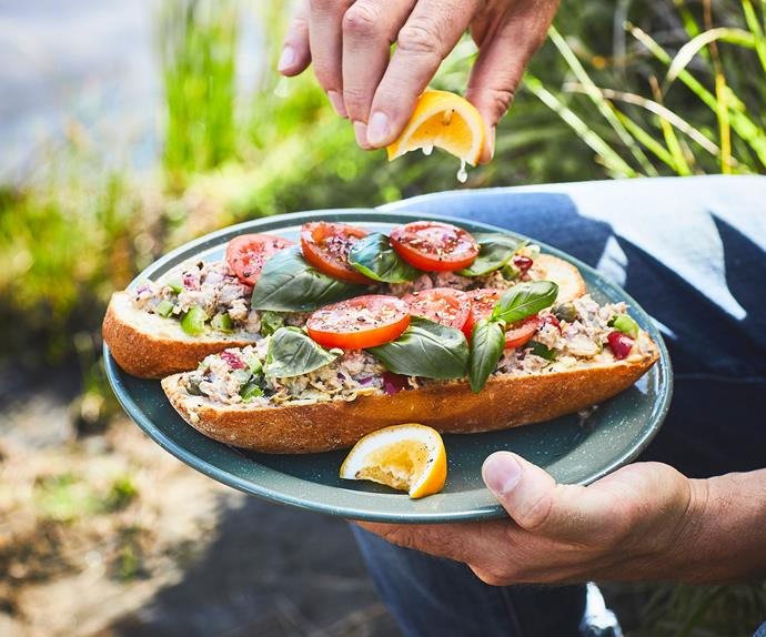 Mediterranean tuna open sandwiches with mayo and mustard