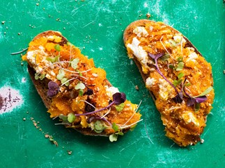 Roast pumpkin and goat's cheese smash with sunflower-seed dukkah