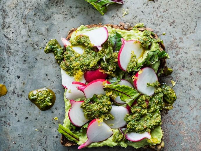 Avocado cream, baby beet leaves and radish with chermoula on five-grain