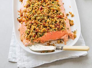 Sundried tomato, lemon and chilli-crusted salmon