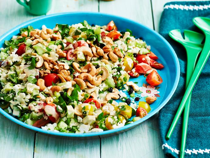 "**[Cauliflower and parsley salad](https://www.womensweeklyfood.com.au/recipes/cauliflower-and-parsley-salad-2885|target=""_blank"")**  'Bring-a-plate' gatherings will be even tastier with this healthy, flavoursome salad on the table."