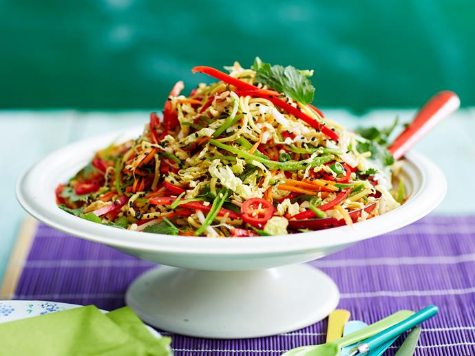 "This Asian-style [noodle and cabbage salad](https://www.womensweeklyfood.com.au/recipes/noodle-salad-2886|target=""_blank"") is flavoursome, filling and oh-so delicious!"