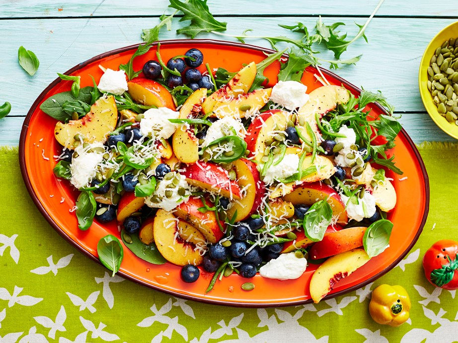"**[Summer salad of peaches and blueberries](https://www.womensweeklyfood.com.au/recipes/summer-salad-of-peaches-and-blueberries-2887|target=""_blank"")** <br><br> Team your favourite fresh summer fruit with creamy ricotta, fresh spinach leaves, basil and chilli for a unique, delicious side dish for any outdoor gathering."