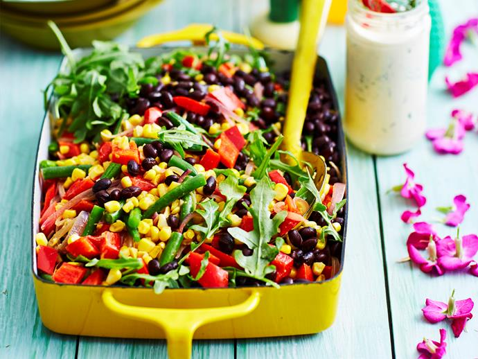 "**[Corn and mixed bean salad](https://www.womensweeklyfood.com.au/recipes/corn-and-mixed-bean-salad-2888|target=""_blank"")**  This colourful salad comes to life with a tongue-tingling Mexican dressing. Bring it along to any gathering - it's sure to be a crowd-pleaser!"