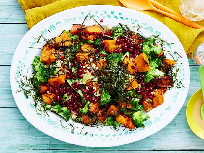 "**[Brown rice salad with pumpkin](https://www.womensweeklyfood.com.au/recipes/brown-rice-salad-with-pumpkin-2889|target=""_blank"")**  There is nothing boring about this inventive salad. Bold flavours of roast pumpkin, pomegranate seeds and nori with brown rice and a miso dressing will give your view of salads a pleasant refresher."