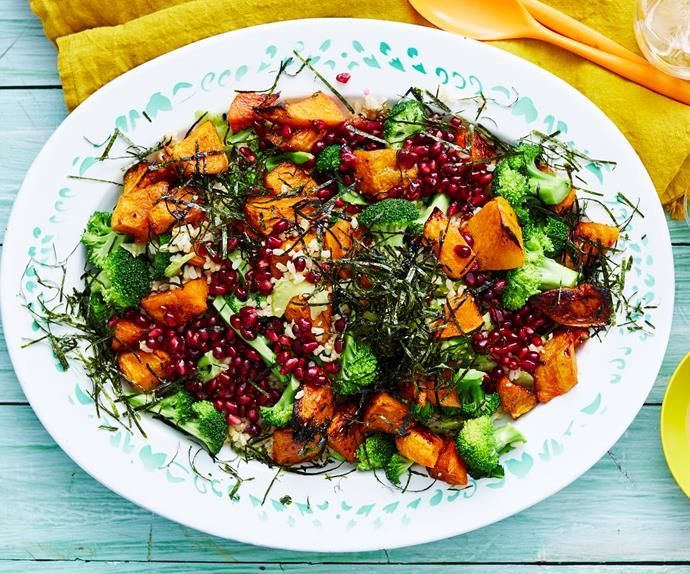 brown rice salad with pumpkin